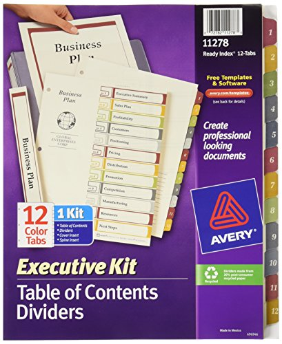 Avery Executive Ready Index Table/Contents Dividers, 12-Tab, 1-12, Letter Size, Assorted, 12 per Set (11278)