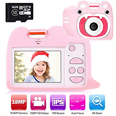 Ohuhu Kids Camera Toy with 2 Silicone Case, Girls Boys Camera with 16GB SD Card, 1080P HD 18.0MP Digital Video Camera Recorder Camcorder for Children Birthday Valentine Gifts, 2