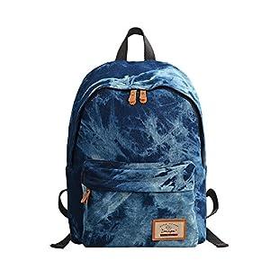 Douguyan Denim Backpack Lightweight Cute Rucksack Travel College for Teen Girl Women