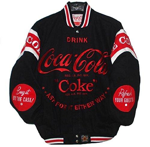 COCA COLA COKE Bottle Embroidered cotton twill Jacket JH Design Black (Coke Design)