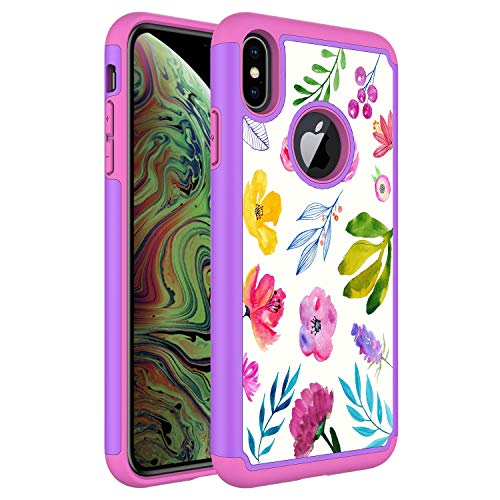 iPhone Xs Max Case, Onyxii Hybrid Dual Layer Graphic PU Leather Colorful TPU Fashion Protective Cover Armor Case for Apple iPhone 10s Max (Colorful - Leather Graphic