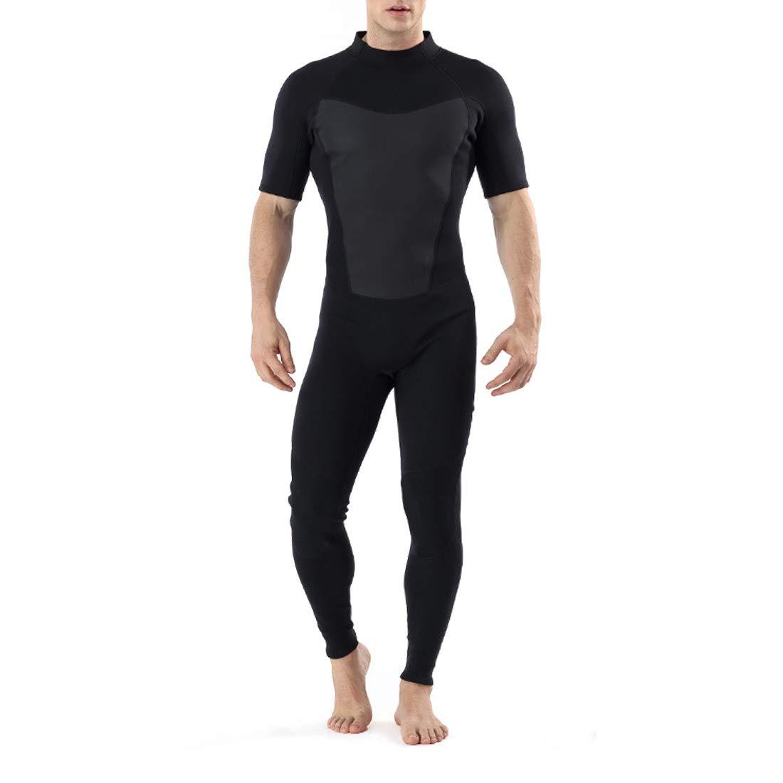KERVINJESSIE ウェットスーツ メンズ 水着 ダイビング サーフィン 日焼け止め 吸汗速乾 ラッシュガード 涼しい 断熱 優れた半袖。 X-Large ブラック KERVINJESSIE B07G8L3HKH ブラック X-Large