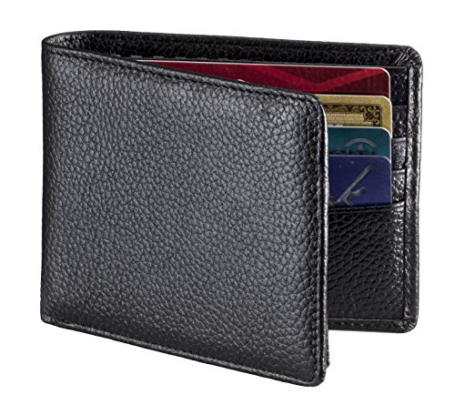 RFID Blocking Wallet, Secure & Stylish Genuine Leather Wallets for Men - Extra Capacity Multi Card Travel Bifold Sleek and Stylish Gift, Made with Genuine Leather, RFID Wallet. (Wallet Bi Fold Striped)
