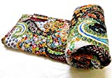 Kiara Indian Handmade Quilts Cotton Floral Print Reversible Kantha Paisley Pattern Bedspreads & Coverlets Stitch Throw Twin Size / Queen Size (Royal Black, Queen)