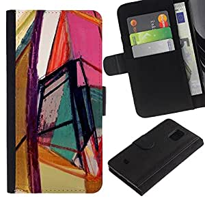 KingStore / Leather Etui en cuir / Samsung Galaxy S5 Mini, SM-G800 / Arte brillante Colores Geometría;