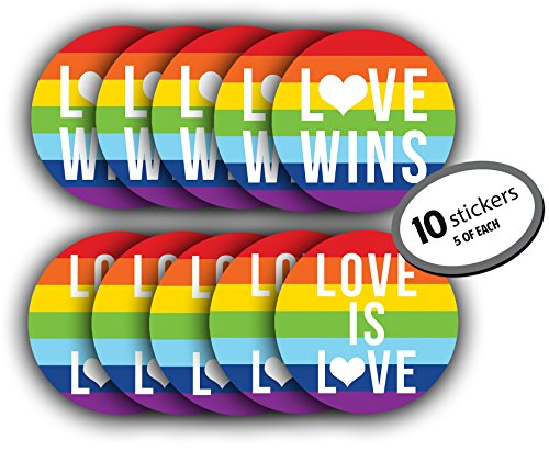- Gay Lesbian Marriage PRIDE Sticker - 10 Pack (5 Love Wins & 5 Love is Love). LARGE 5 inches. Use on car bumper, computer, as wall decorations, or give as a gift. Rainbow Flag for LGBT, LGBTQ rights.