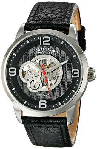 Stuhrling Original Men's 648.02 Legacy Automatic Self Wind Skeleton Black Genuine Leather Strap Watch