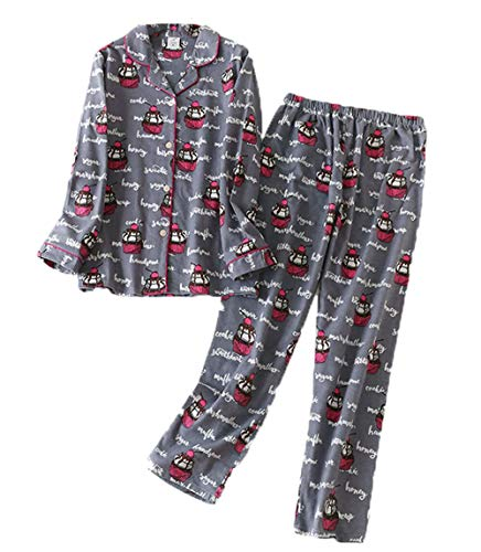 Sanmadrola Women's Cotton Sleepwear Long Sleeve Pajama Set SY254-Gray Cupcake-L