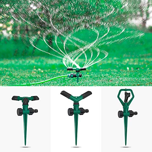 DTNO.I Lawn Sprinkler, 3 Pack Automatic 360° Rotating Lawn Sprinkler Adjustable Watering System for Lawn, Nursery & Grass Irrigation, Garden Water Sprinklers with Leak Design for Kids Playtime