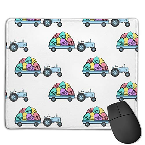 Tractors with Easter Eggs Brights LAD Computers Thick Keyboard Non-Slip Rubber Base Mouse pad Mat 7 X 8.6 inch