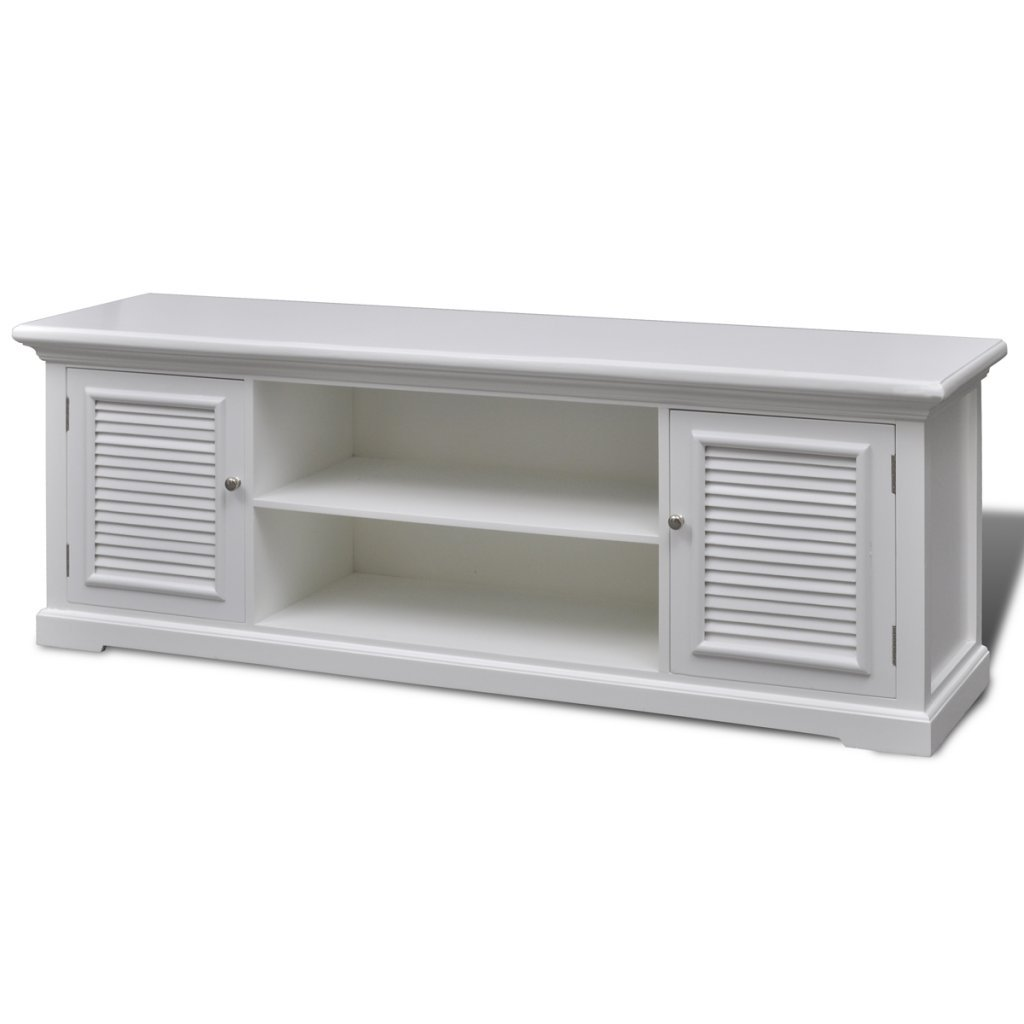Anself 2 Tier Wood Collection TV Table, White by Anself