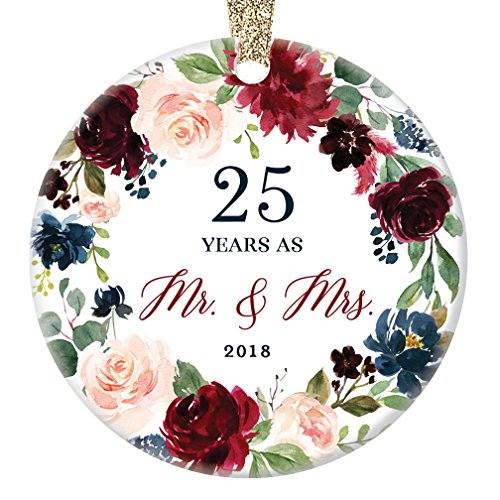 2018 Christmas Ornament Milestone 25th Wedding Anniversary Gift Mr. & Mrs. Couple Married Twenty-Five 25 Years Beautiful Ceramic Holiday Keepsake Present Porcelain 3 Flat with Gold Ribbon Free Box