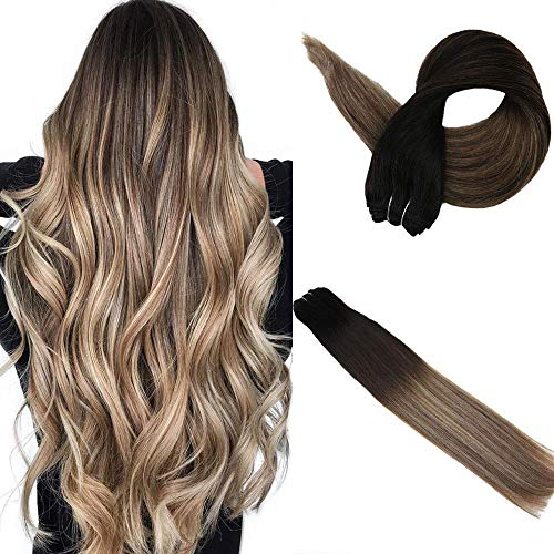 Easyouth Balayage Hair Weft Remy Extensions 14 Inch 100g Per Package Color Off Black Fading To Middle Brown Highlights With Honey Blonde Brazilian Hair Bundles Sew In ()