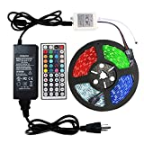 #7: WenTop 32.8ft(10M) Led light Strip Kit 24V UL Listed Power Supply 5050 RGB 300LEDs Color Changing Non-waterproof Led Tape Lights with 44key Remote and for Cabinet, Ceiling, PC and Room Lighting