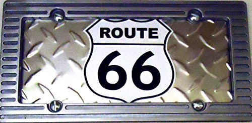 1 , Truck Sign of a , Route 66 , Metal License Plate , Framed with an Alloy Brushed Aluminum Frame,+27B4.0+10B3.0+9001+2736+ ()