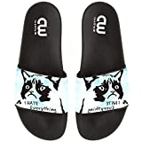 Grumpy Cat I Hate Everything Summer Slides Slippers For Boy Girl Indoor Outdoor Sandal Shoes size 4