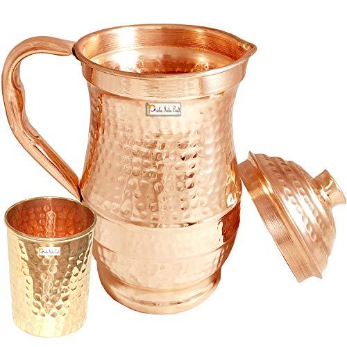 Prisha India Craft Hammered Design Pure Copper Water Jug 1800 ML with 1 Tumbler Glass 250 ML  Brown