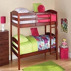 Walnut Standard Twin Design Wood Bunk Bed