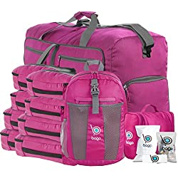 Lightweight Family Travel Luggage Set - Duffle Bag Backpack Toiletry Packing Cubes (FamilySet-Pink)