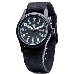 Smith & Wesson Men's Military Watch with 3ATM/Japanese Movement/Date Display/3 Interchangeable Canvas Straps/Case and Face, 38mm, Black