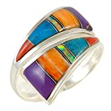 Best Ring With Silver Colors - Turquoise Ring Sterling Silver (Pick Color) (Multi-Gems, 6) Review