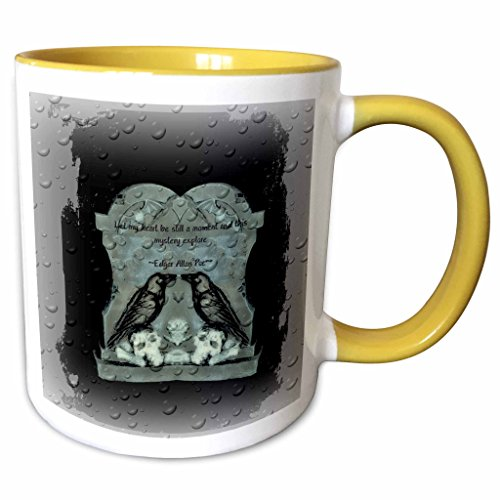 3dRose ET Photography - Halloween Designs - Two Ravens on tombstone with a quote from Poe - 15oz Two-Tone Yellow Mug (mug_162111_13) -