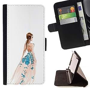 Momo Phone Case / Flip Funda de Cuero Case Cover - Viste Arte blanco de la manera de la acuarela - Samsung Galaxy S6