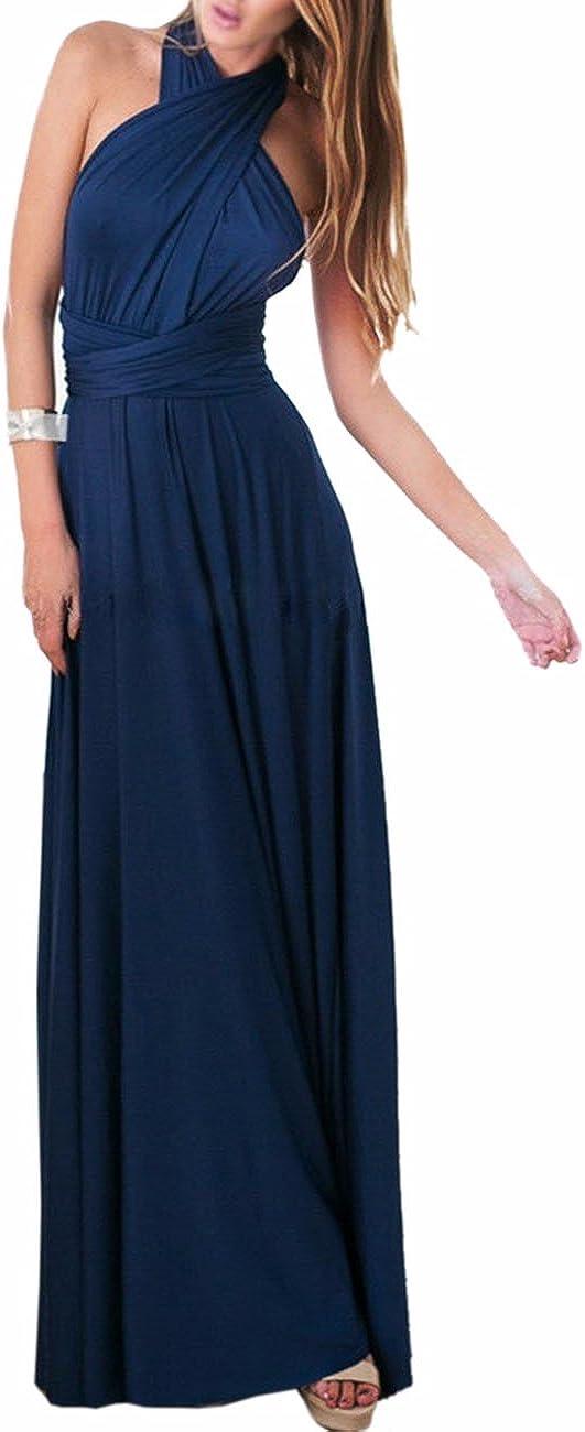 TALLA XL. EMMA Mujeres Falda Larga de Cóctel Vestido de Noche Dama de Honor Elegante sin Respaldo Azul Oscuro XL