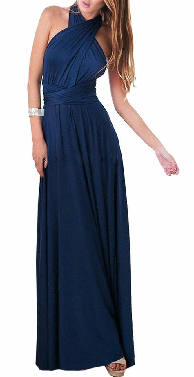 TALLA S. EMMA Mujeres Falda Larga de Cóctel Vestido de Noche Dama de Honor Elegante sin Respaldo Azul Oscuro S