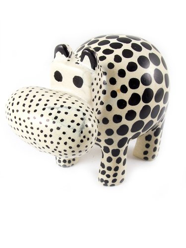 Maisha Fair Trade Hand Carved Decorative Soapstone Hippo,Black & Natural (Hand Carved Hippo)