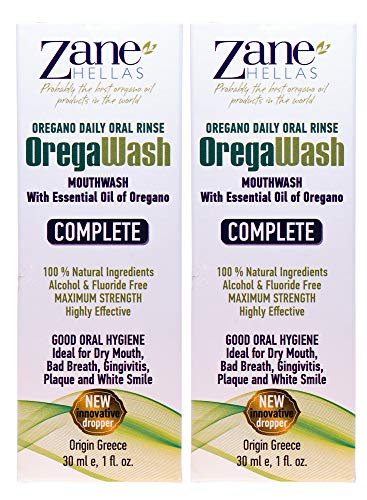 (OREGAWASH Mouthwash. Oregano Daily Oral Rinse. 100% Natural. 2 Fl. Oz. - 60ml. Alcohol, Fluoride Free. Naturally Bacteria Fighting. Ideal for Gingivitis, Plaque, Dry Mouth, Bad Breath Support.)