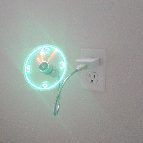 Mini ventilatore USB con ventola che proietta lora con luce a LED per diventare anche orologio da tavolo oltre a ventilatore da scrivania Hemore
