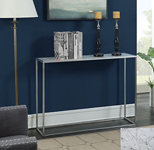 Convenience Concepts 413499S Gold Coast Faux Marble Console Table Silver