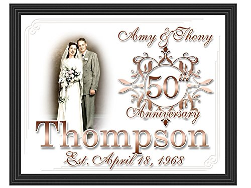 50th Anniversary Gift, Framed Custom Photo Picture | Golden Anniversary, 50th Wedding Anniversary, Gift for Parents or Grandparents, Anniversary Sign 11x14