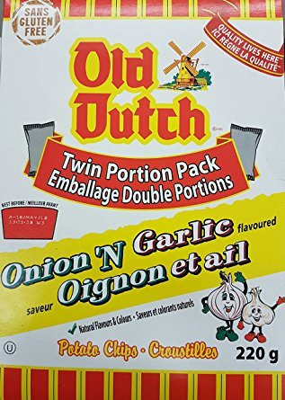 Old Dutch Onion 'N Garlic Potato Chips 220g Box {Imported from (Old Dutch Foods)