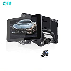 QUARKJK Dash Cam 4 Inch FHD 1080P Manual HD Screen 170 Degree Dual Lens Front and Rear Car Video