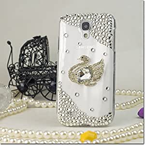For Samsung Galaxy S4 i9500 - 3D Design Full Diamond Protectors - Silver Peacock FPD3D