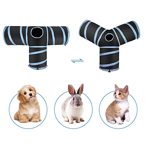 Slowton Cat Tunnel Toy, Crackle Paper Collapsible Tube Three Connected Run Road Way Tunnel Catnip House with Fun Ball Puzzle Exercising and Playing for Kitten, Rabbits and Small Dogs by Slowton (Image #6)