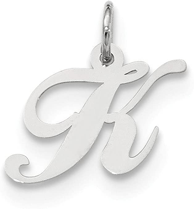 Mireval Sterling Silver Initial K Charm on a Sterling Silver Carded Box Chain Necklace 18