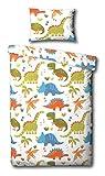 Children's Dinosaur Junior/Toddler Duvet Cover Bed Set Inc. Pillowcase (White, Orange, Green, Blue)