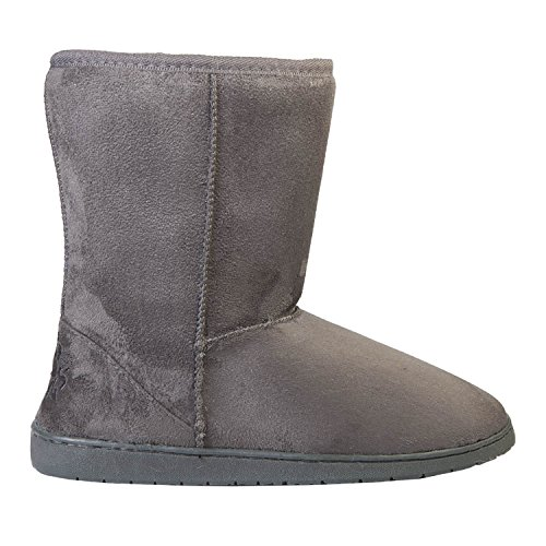 Review DAWGS Womens 9 Inch Faux Shearling Microfiber Vegan Boots (Grey, Size 10)