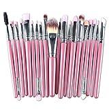 : Cinidy 20 pcs Makeup Brush Set tools Make-up Toiletry Kit Wool Make Up Brush Set (Silver)