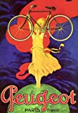 PEUGEOT PARIS FRANCE WOMAN ON TOP OF THE WORLD CARRYING LIGHT BICYCLE FRENCH BIKE CYCLING LARGE VINTAGE POSTER REPRO