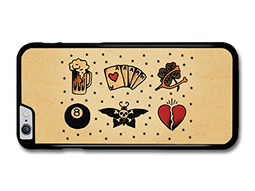 Old Tattoo Vintage Beer Cards Clover Moth Eight Ball Heart Illustration coque pour iPhone 6 Plus 6S Plus