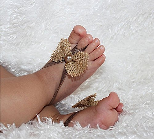 04edb2ebbcf4 Handmade Tan Burlap Bow Baby Barefoot Sandals with Pearl by ALLBABYGIRLS