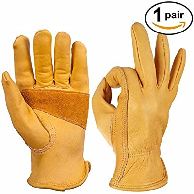 Leather Work Gloves Ozero Grain Cowhide Glove for Motorcycle, Driving, Yard, Gardening - Perfect Fit - Good Grip Palm Padding - Elastic Wrist - 1 pair (Extra Large) by OZERO