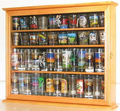 Souvenir / State Shot Glass and Tall Shooter Display Case Holder Cabinet, OAK Finish (Tall Case)