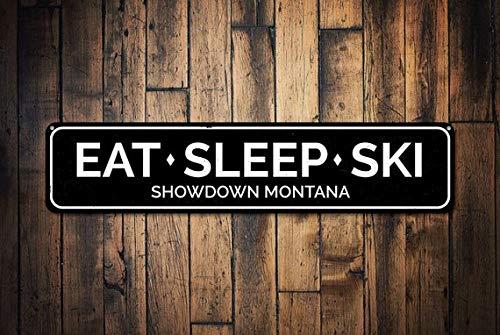 Eat Sleep Ski Sign, Personalized Ski Lodge Location Sign, Custom Mountain Lodge Cabin Decor, Metal Skiing Sign,Metal Sign, 4