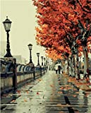 Arts & Crafts : Diy Oil Painting, paint by number kit- Romantic love autumn 16*20 inch.