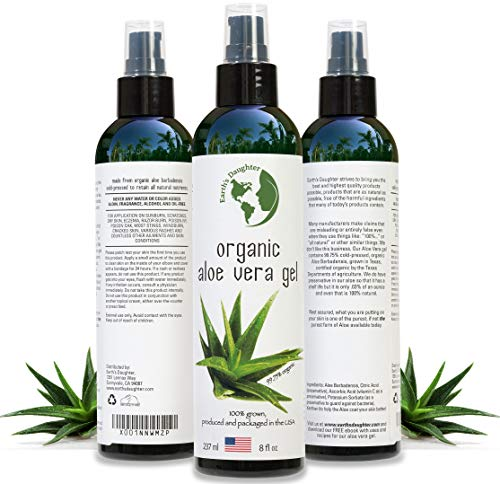 Organic Aloe Vera Gel from 100% Pure and Natural Cold Pressed Aloe, Great for Face, Hair, Acne, Sunburn, Bug Bites, Rashes, Eczema 8 oz. ()
